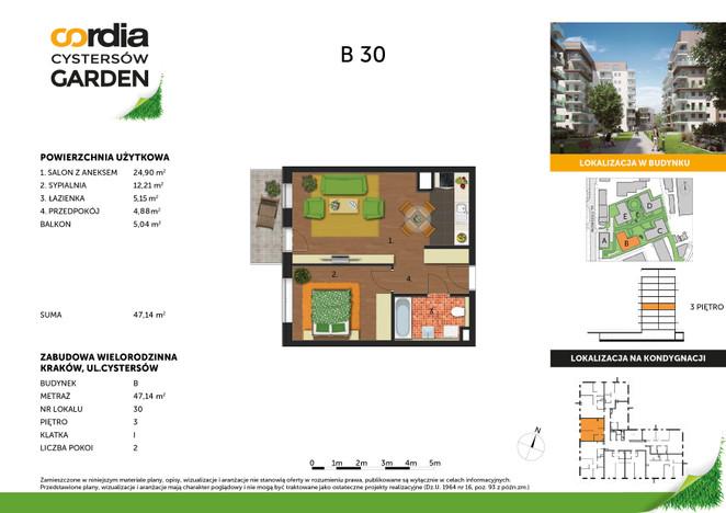 Mieszkanie w inwestycji Cordia Cystersów Garden II Etap, Kraków, 47 m² | Morizon.pl | 4600
