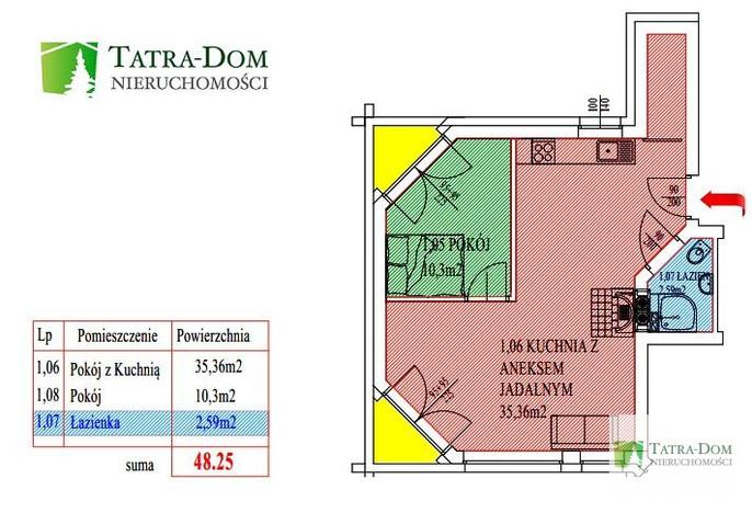 Mieszkanie na sprzedaż, Kościelisko, 48 m² | Morizon.pl | 6594