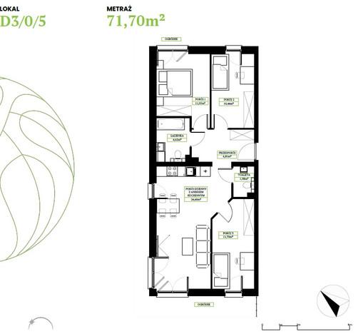 Morizon WP ogłoszenia | Mieszkanie na sprzedaż, Wrocław Brochów, 72 m² | 8831