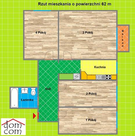 Morizon WP ogłoszenia | Mieszkanie na sprzedaż, Knurów Mieszka I, 62 m² | 1330