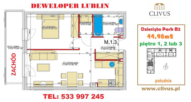 Morizon WP ogłoszenia   Mieszkanie na sprzedaż, Lublin Dziesiąta, 45 m²   6786