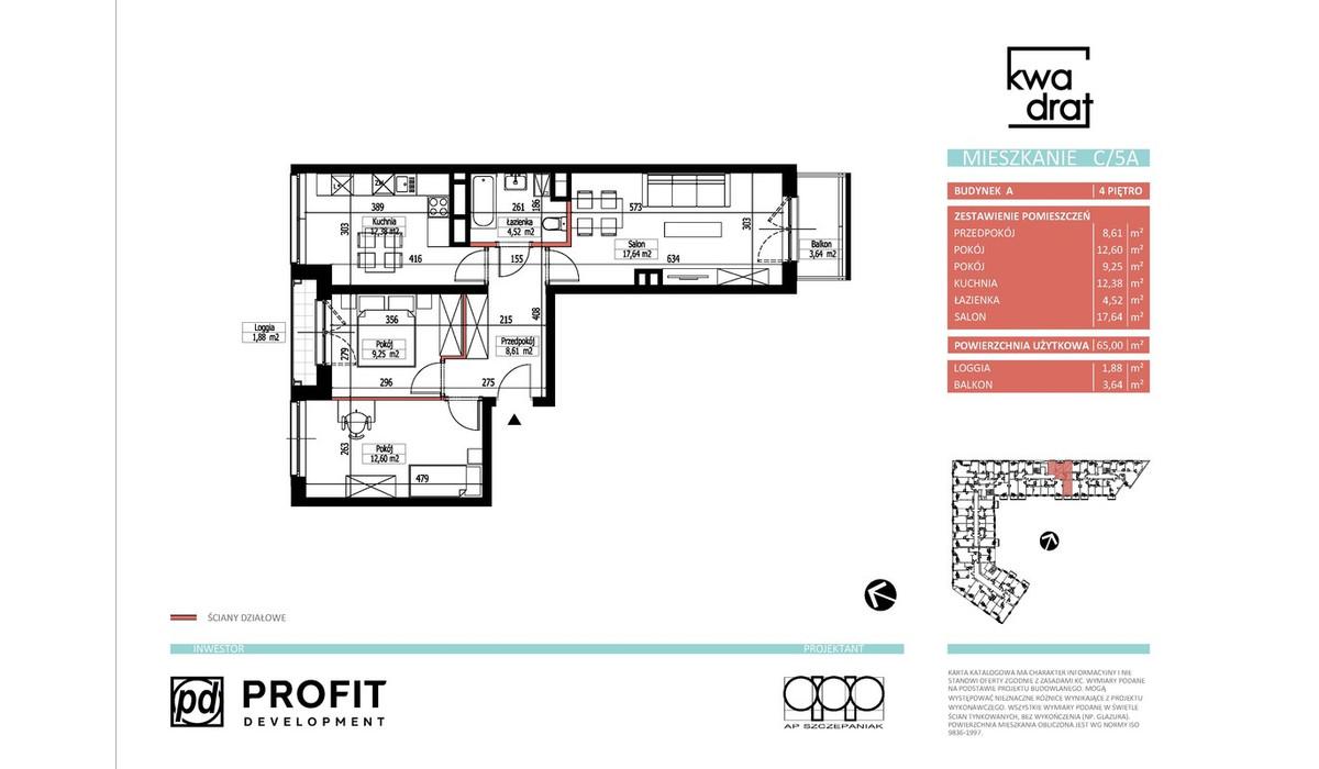 Mieszkanie w inwestycji Kwadrat, Wrocław, 65 m² | Morizon.pl | 9600