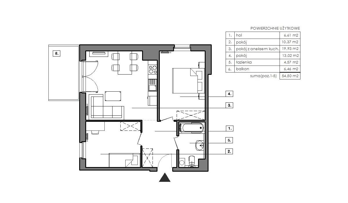 Mieszkanie w inwestycji Signum, Gdynia, 57 m² | Morizon.pl | 6511