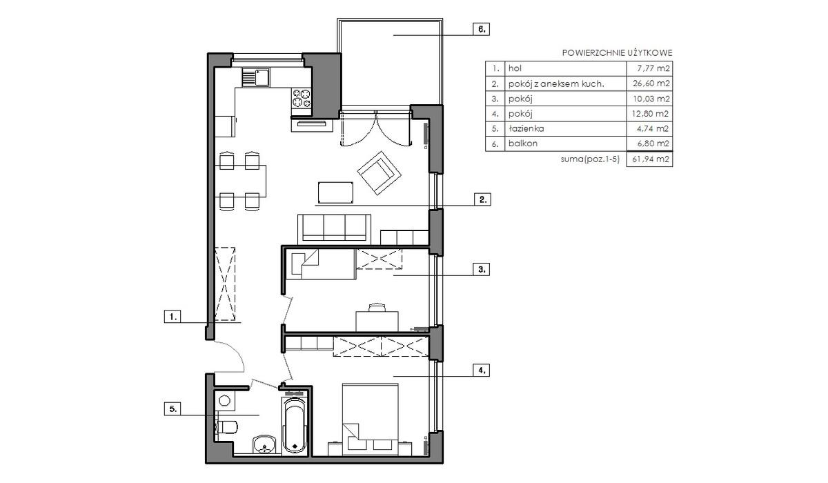 Mieszkanie w inwestycji Signum, Gdynia, 65 m² | Morizon.pl | 6513