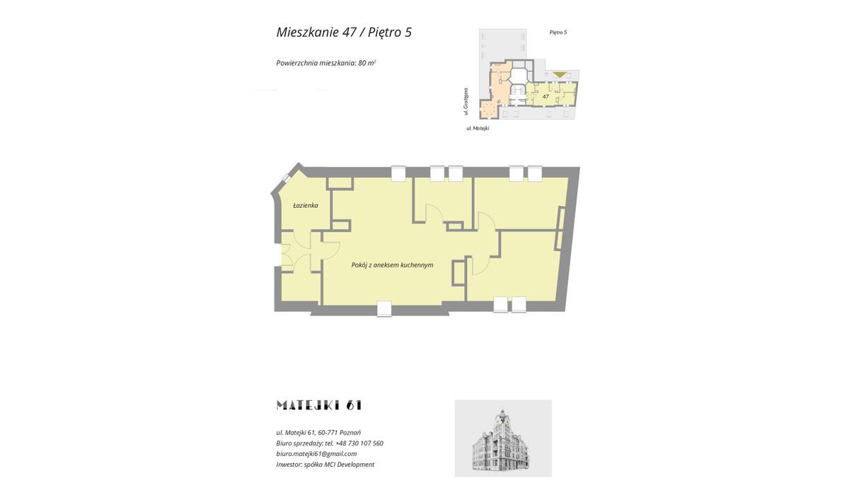 Mieszkanie w inwestycji Matejki 61, Poznań, 80 m² | Morizon.pl | 8394
