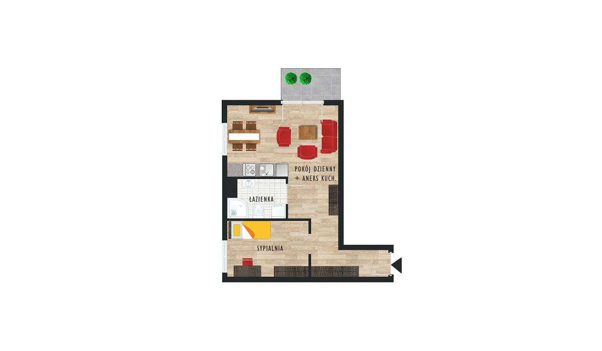 Mieszkanie w inwestycji Karoliny V, Katowice, 43 m² | Morizon.pl | 0494