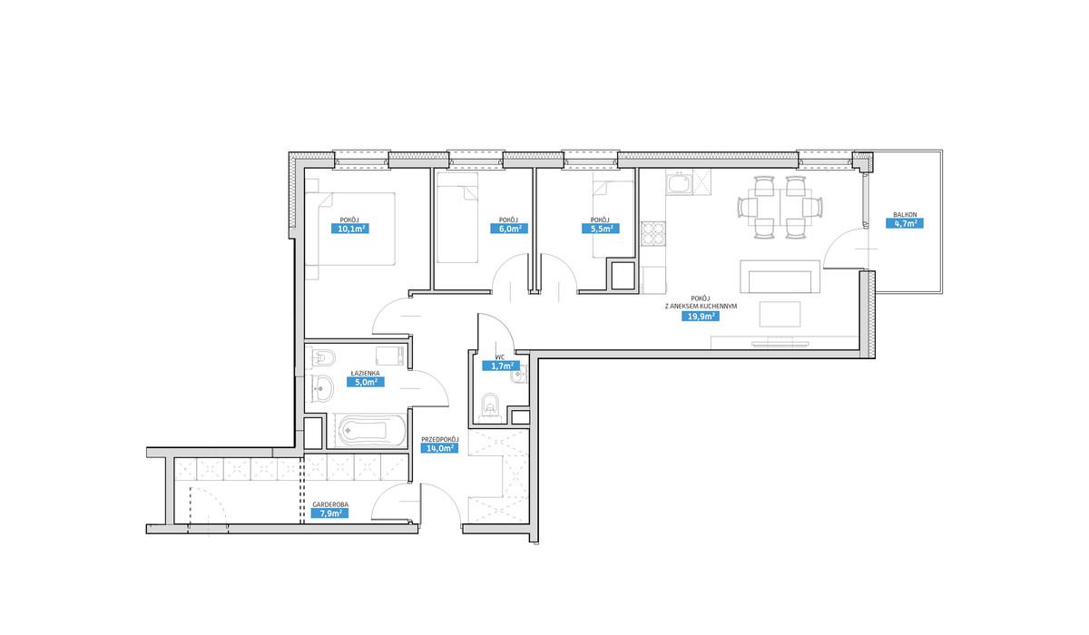 Mieszkanie w inwestycji Panorama Prądnik, Kraków, 70 m²   Morizon.pl   6489