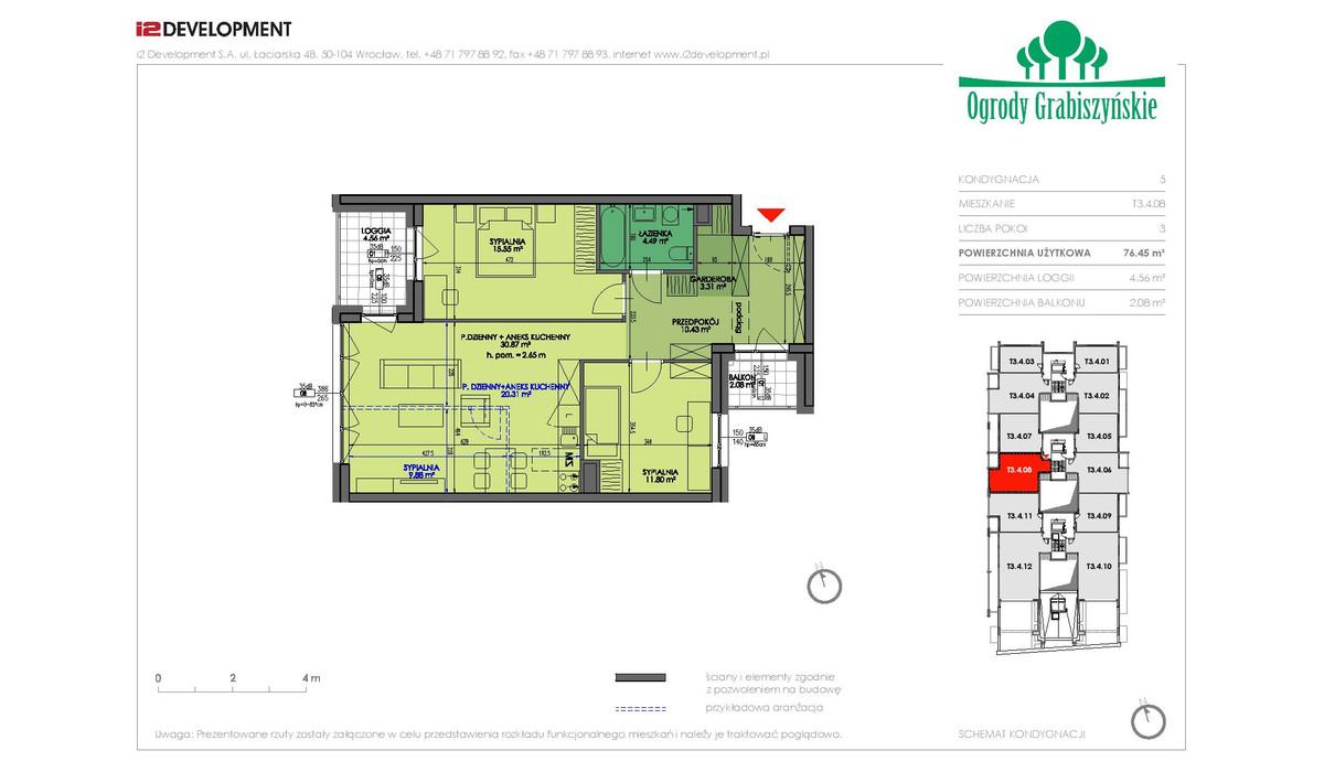Mieszkanie w inwestycji Ogrody Grabiszyńskie, Wrocław, 76 m² | Morizon.pl | 4608