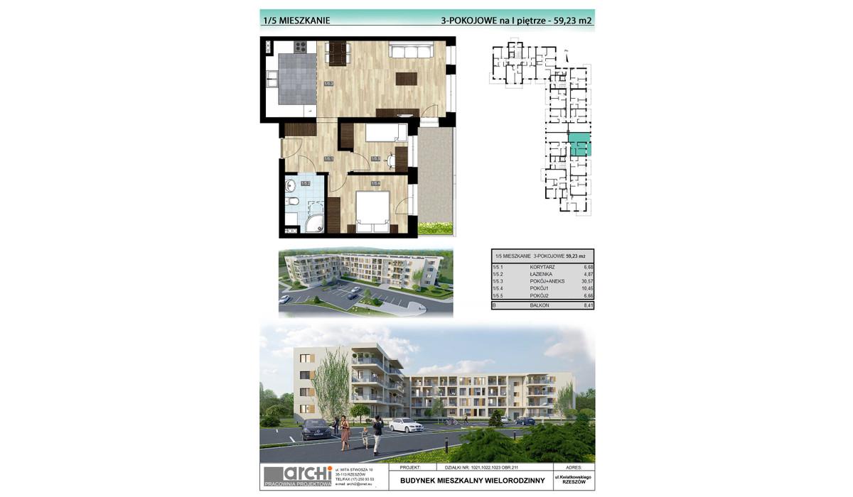 Mieszkanie w inwestycji Osiedle Kwiatkowskiego, Rzeszów, 59 m² | Morizon.pl | 0021