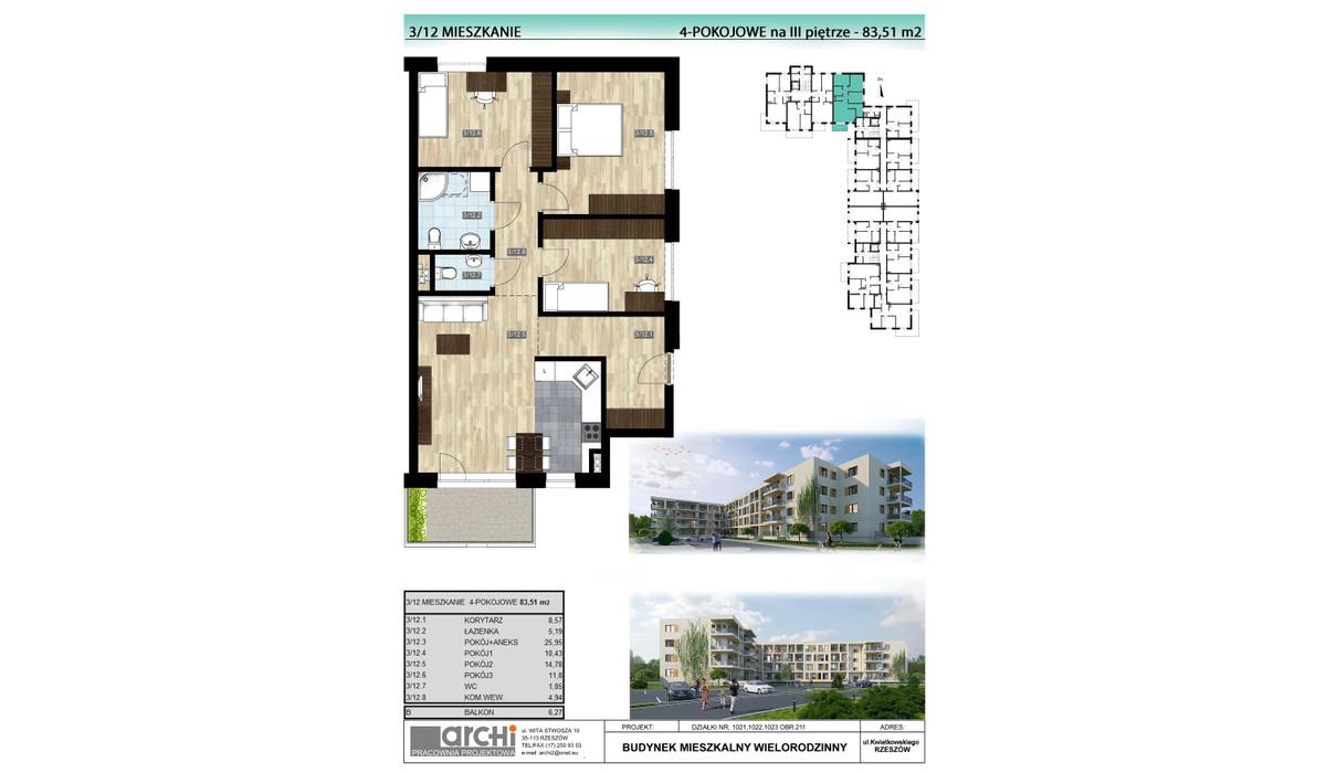 Mieszkanie w inwestycji Osiedle Kwiatkowskiego, Rzeszów, 84 m² | Morizon.pl | 0044