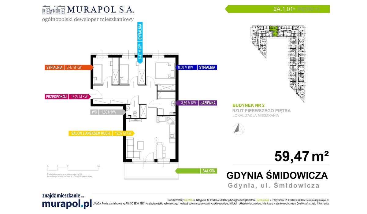 Mieszkanie w inwestycji Murapol Nadmorskie Tarasy, Gdynia, 59 m² | Morizon.pl | 1007