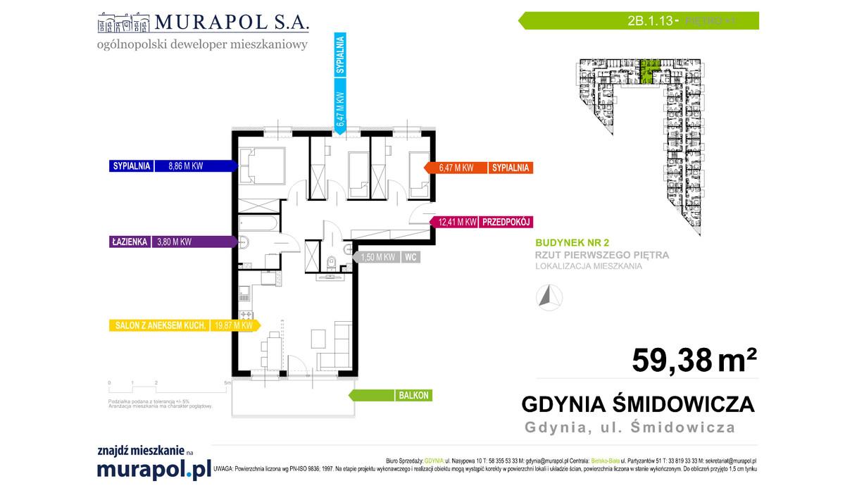 Mieszkanie w inwestycji Murapol Nadmorskie Tarasy, Gdynia, 59 m² | Morizon.pl | 1042