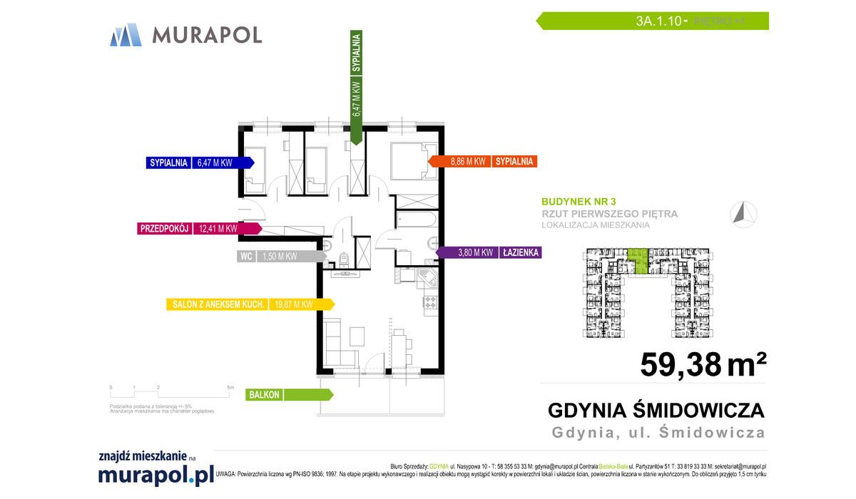 Mieszkanie w inwestycji Murapol Nadmorskie Tarasy, Gdynia, 59 m² | Morizon.pl | 1679