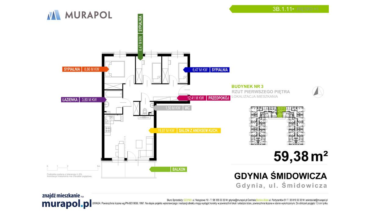 Mieszkanie w inwestycji Murapol Nadmorskie Tarasy, Gdynia, 59 m² | Morizon.pl | 1724