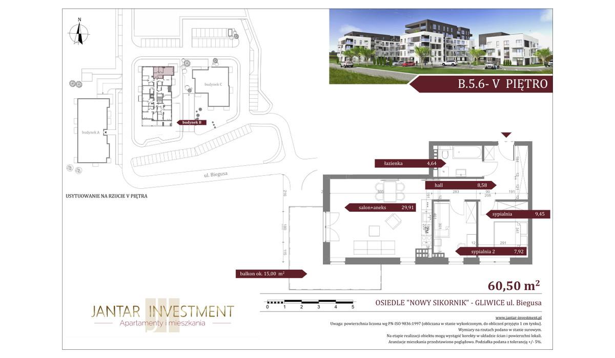 Mieszkanie w inwestycji Nowy Sikornik, Gliwice, 61 m²   Morizon.pl   2540