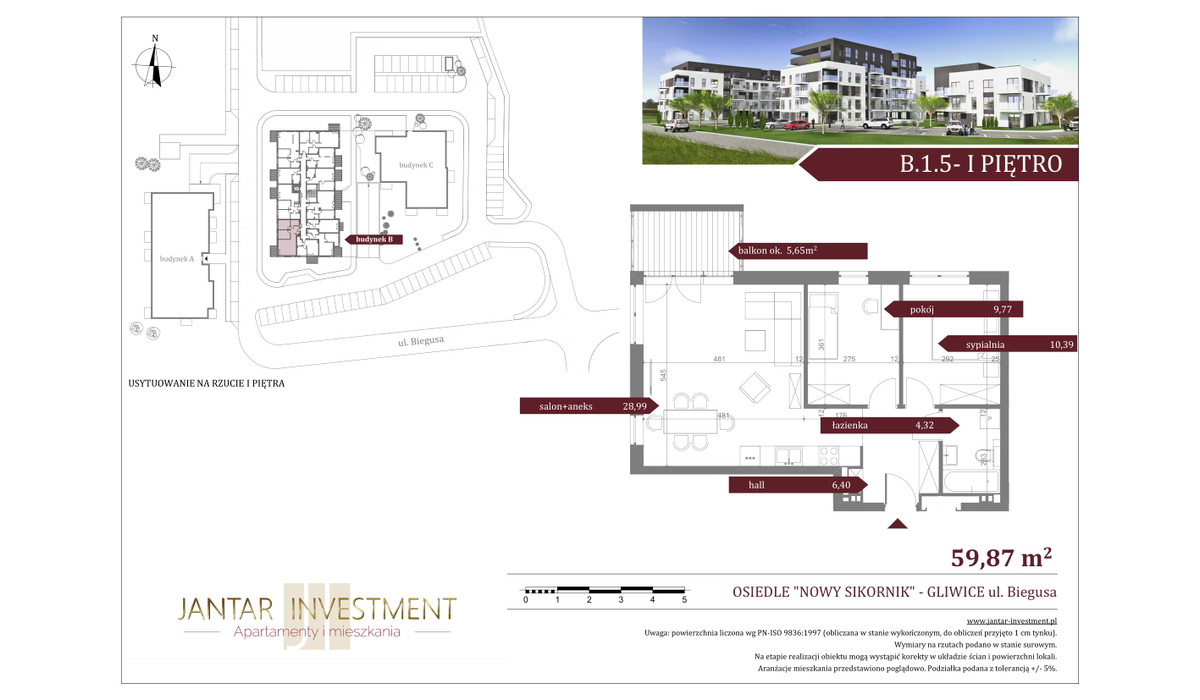 Mieszkanie w inwestycji Nowy Sikornik, Gliwice, 60 m² | Morizon.pl | 2499