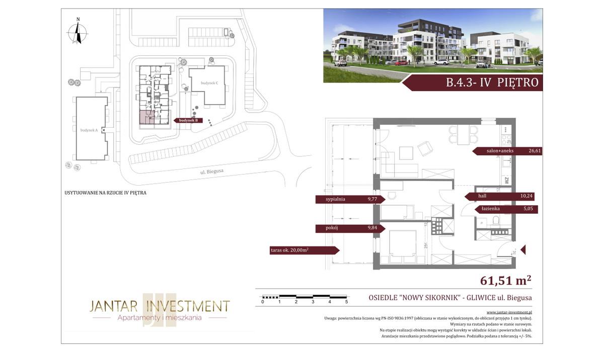 Mieszkanie w inwestycji Nowy Sikornik, Gliwice, 62 m²   Morizon.pl   2528