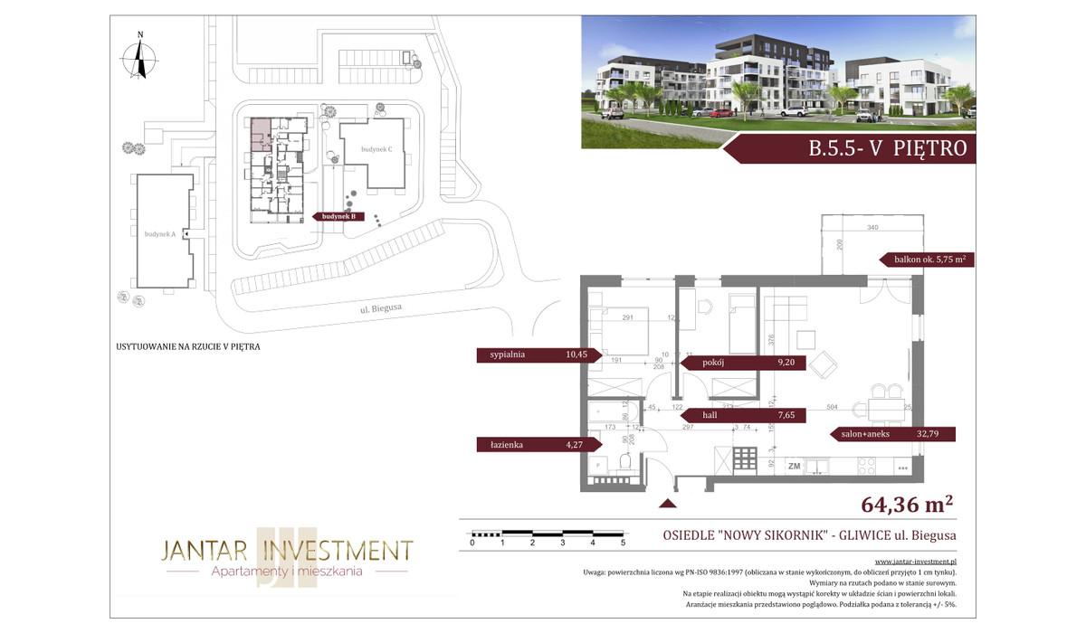 Mieszkanie w inwestycji Nowy Sikornik, Gliwice, 64 m² | Morizon.pl | 2539