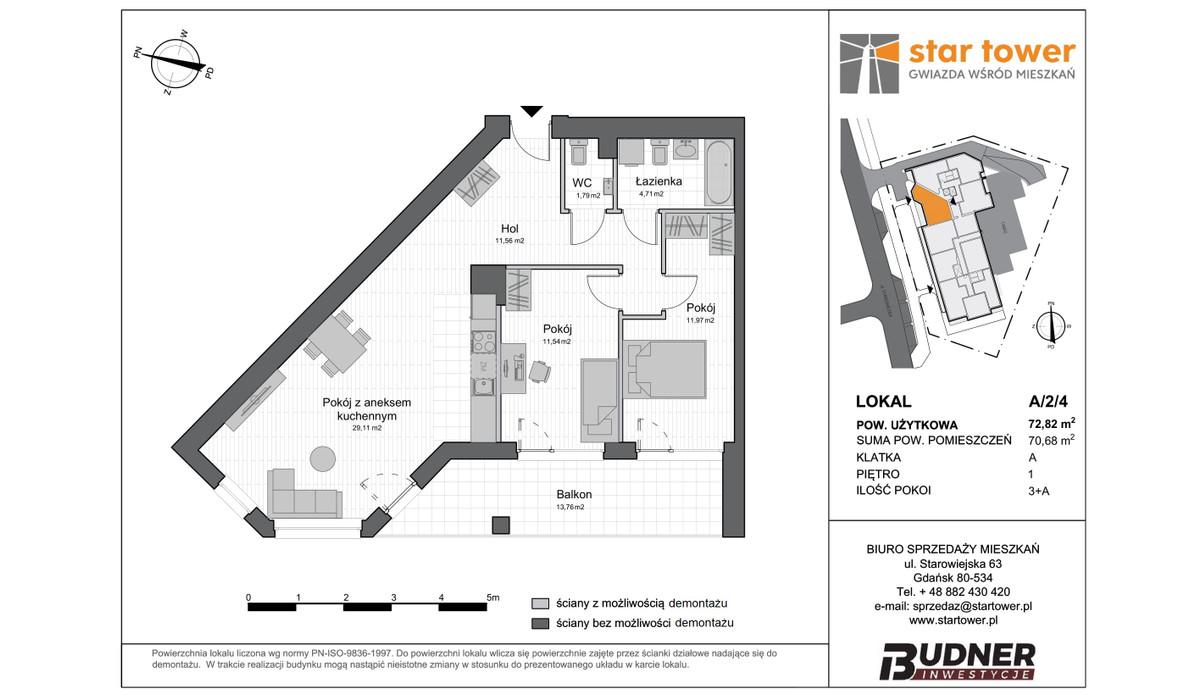 Mieszkanie w inwestycji Star Tower, Gdańsk, 73 m² | Morizon.pl | 5116