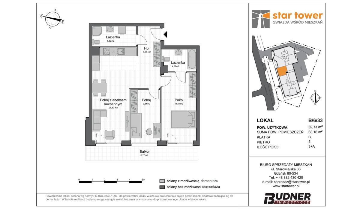 Mieszkanie w inwestycji Star Tower, Gdańsk, 70 m² | Morizon.pl | 5115