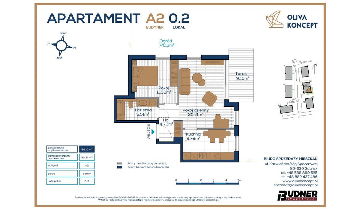 Mieszkanie w inwestycji Oliva Koncept, Gdańsk, 54 m² | Morizon.pl | 6942