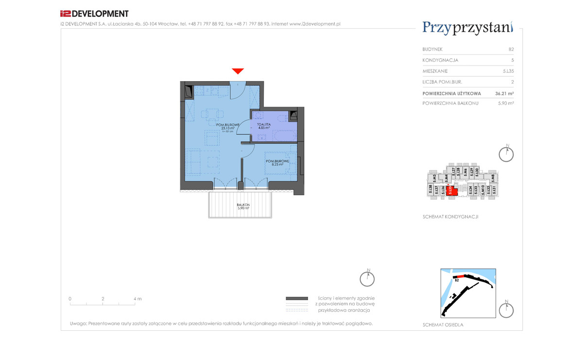 Mieszkanie w inwestycji Przy przystani, Wrocław, 36 m² | Morizon.pl | 7375