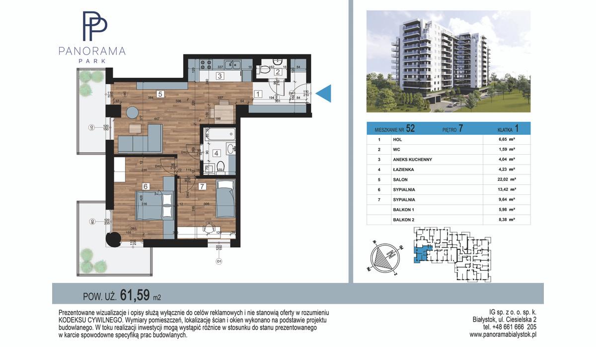 Mieszkanie w inwestycji Panorama Park, Białystok, 62 m² | Morizon.pl | 1459