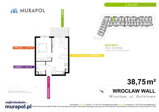 Mieszkanie w inwestycji Murapol Zielona Toskania, Wrocław, 39 m² | Morizon.pl | 3717