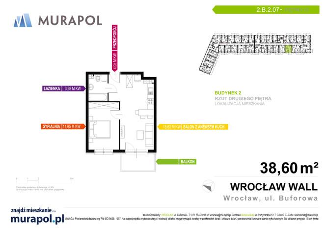Mieszkanie w inwestycji Murapol Zielona Toskania, Wrocław, 39 m² | Morizon.pl | 3798