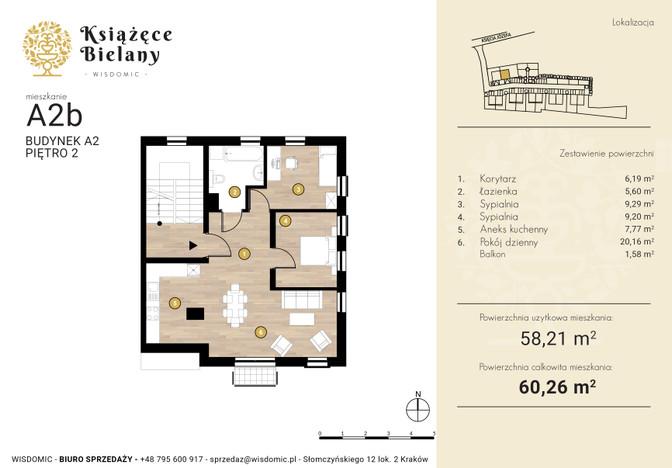 Mieszkanie w inwestycji Książęce Bielany, Kraków, 60 m² | Morizon.pl | 8331