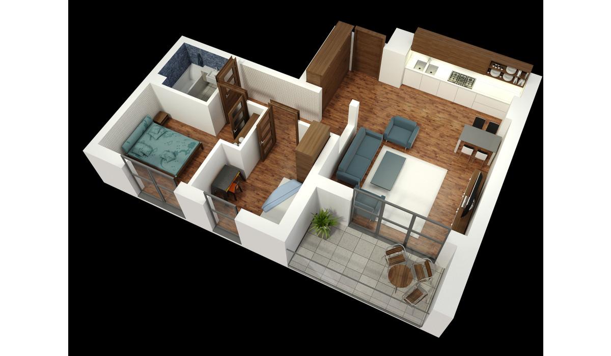 Mieszkanie w inwestycji APARTAMENTY KALISKA 26, Łódź, 63 m² | Morizon.pl | 6381