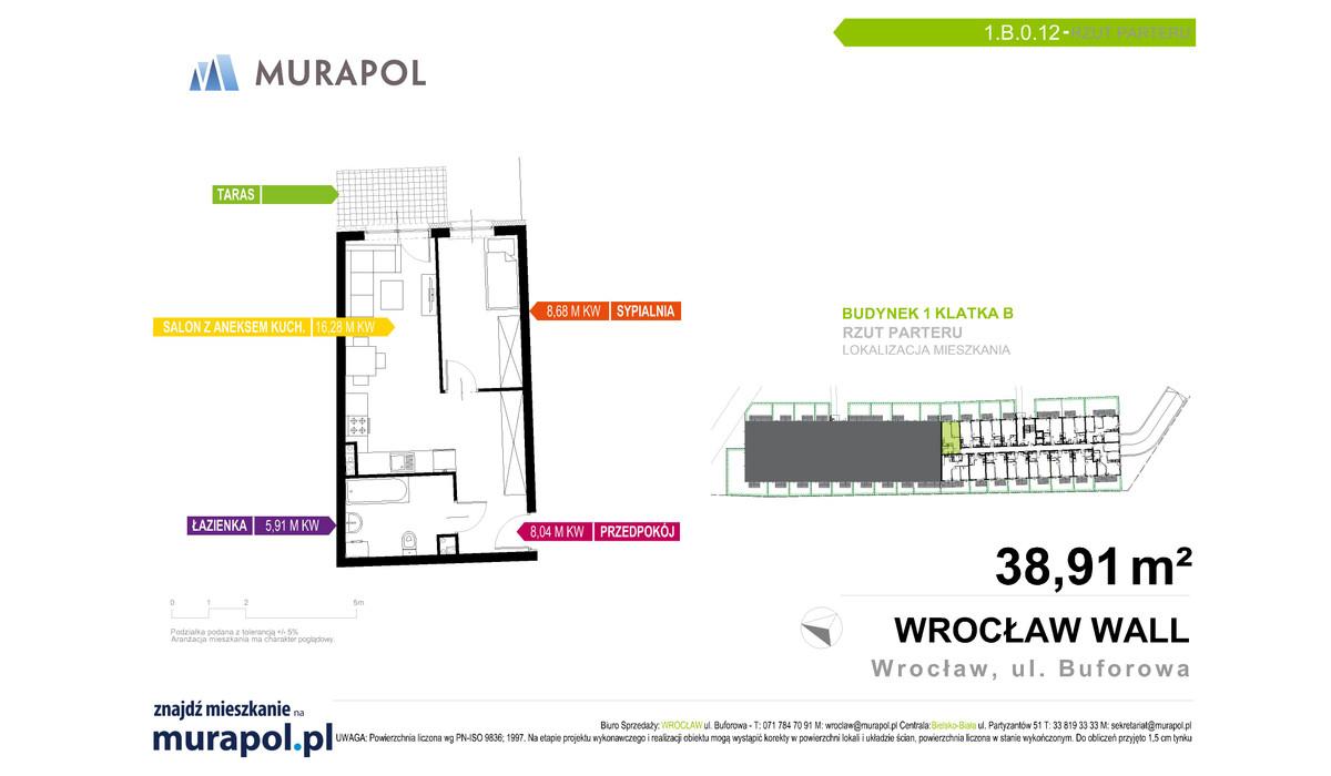 Mieszkanie w inwestycji Murapol Zielona Toskania, Wrocław, 39 m² | Morizon.pl | 7119