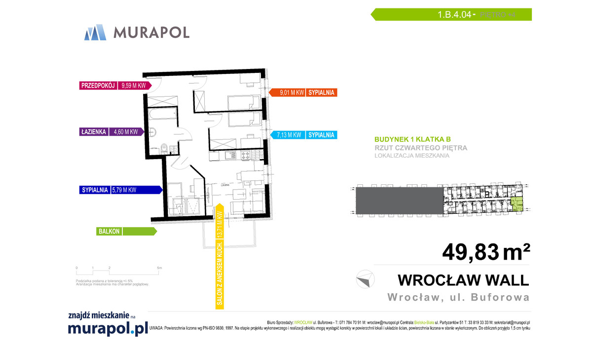 Mieszkanie w inwestycji Murapol Zielona Toskania, Wrocław, 49 m² | Morizon.pl | 7169