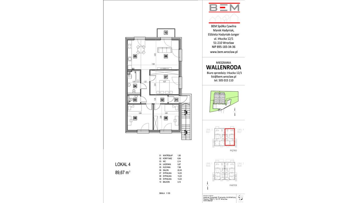 Mieszkanie w inwestycji Wallenroda, Wrocław, 89 m²   Morizon.pl   0697