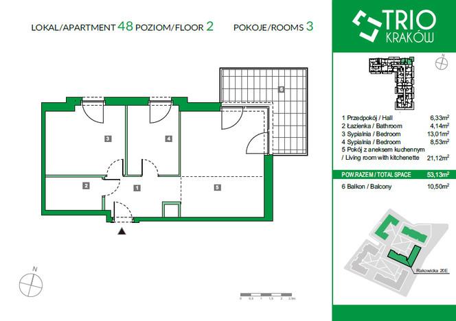 Mieszkanie w inwestycji TRIOKraków, Kraków, 53 m² | Morizon.pl | 1102