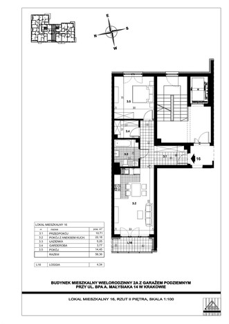 Mieszkanie w inwestycji ul. bpa A. Małysiaka, Kraków, 56 m² | Morizon.pl | 5811