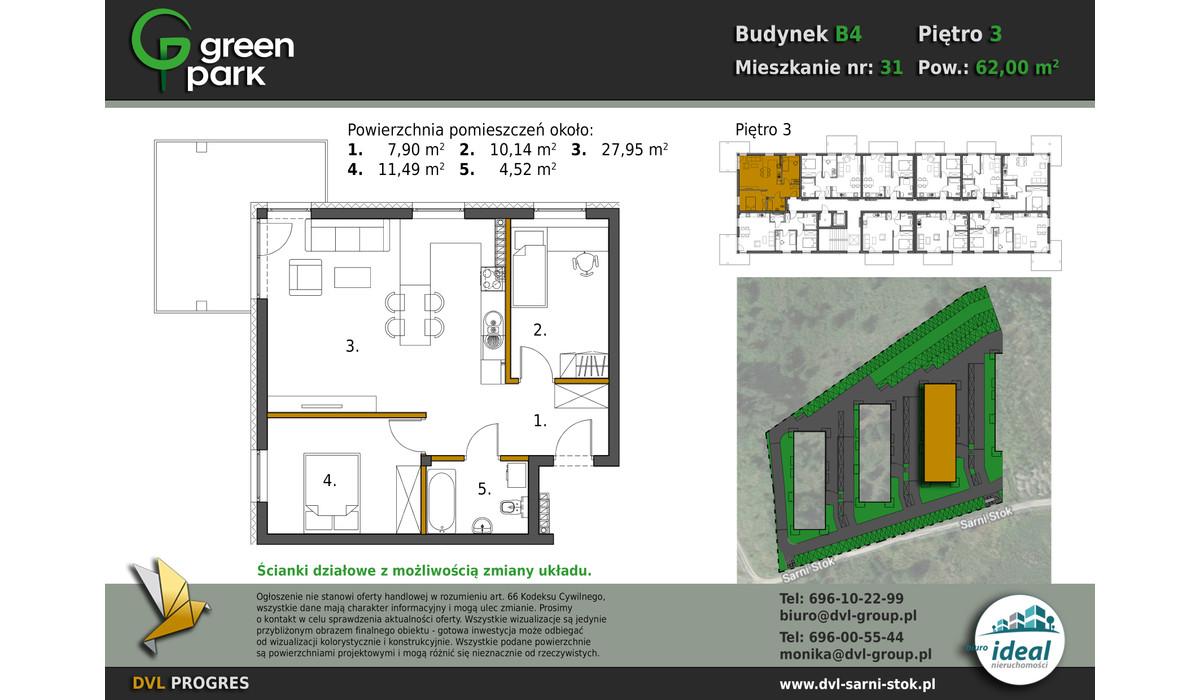 Mieszkanie w inwestycji Nowe Apartamenty Green Park, Bielsko-Biała, 62 m² | Morizon.pl | 2655