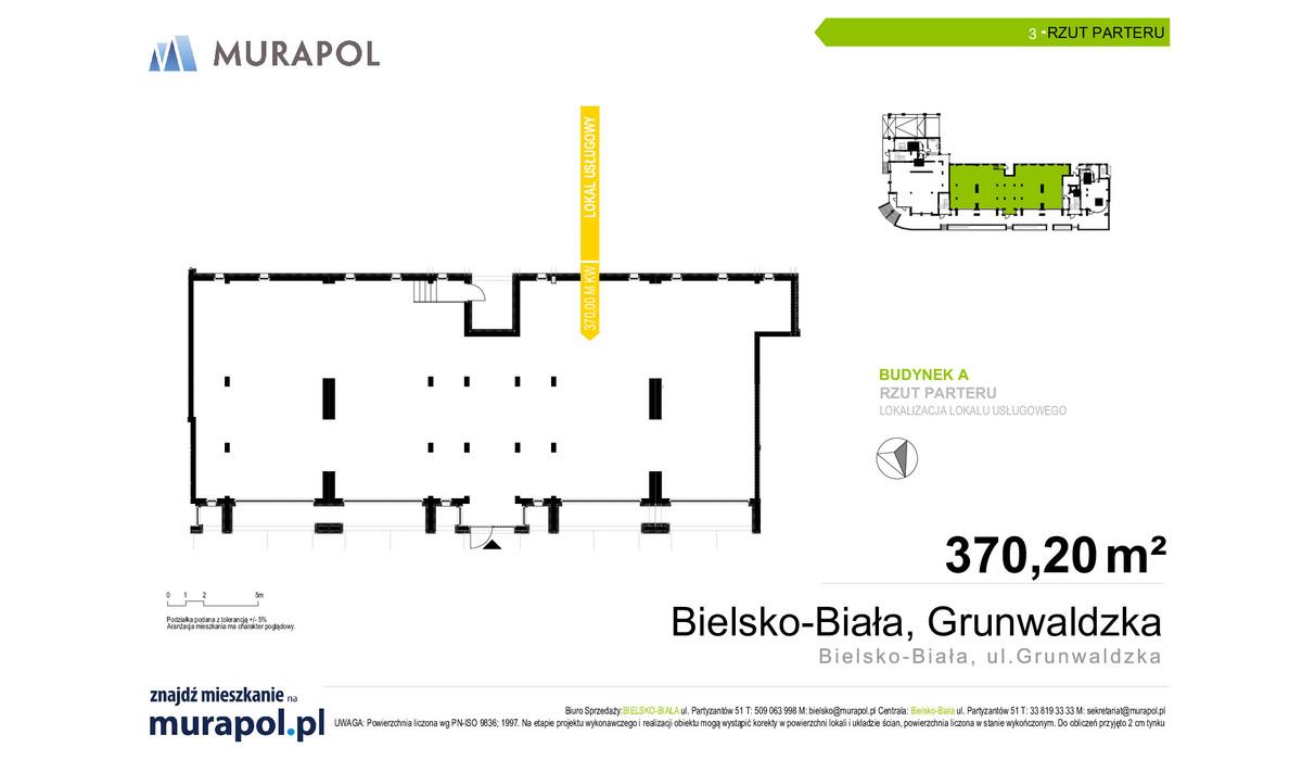 Komercyjne w inwestycji Grunwaldzka - lokale usługowe, Bielsko-Biała, 370 m²   Morizon.pl   8176