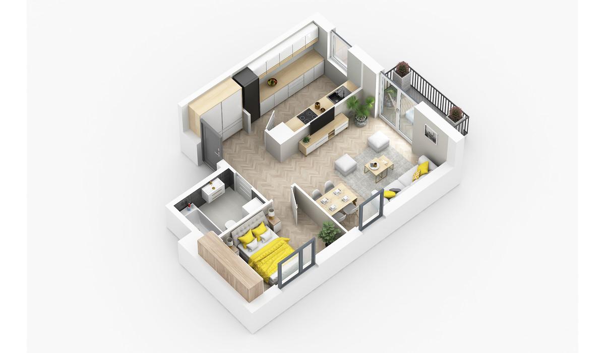 Mieszkanie w inwestycji Golden Space, Warszawa, 47 m² | Morizon.pl | 5769