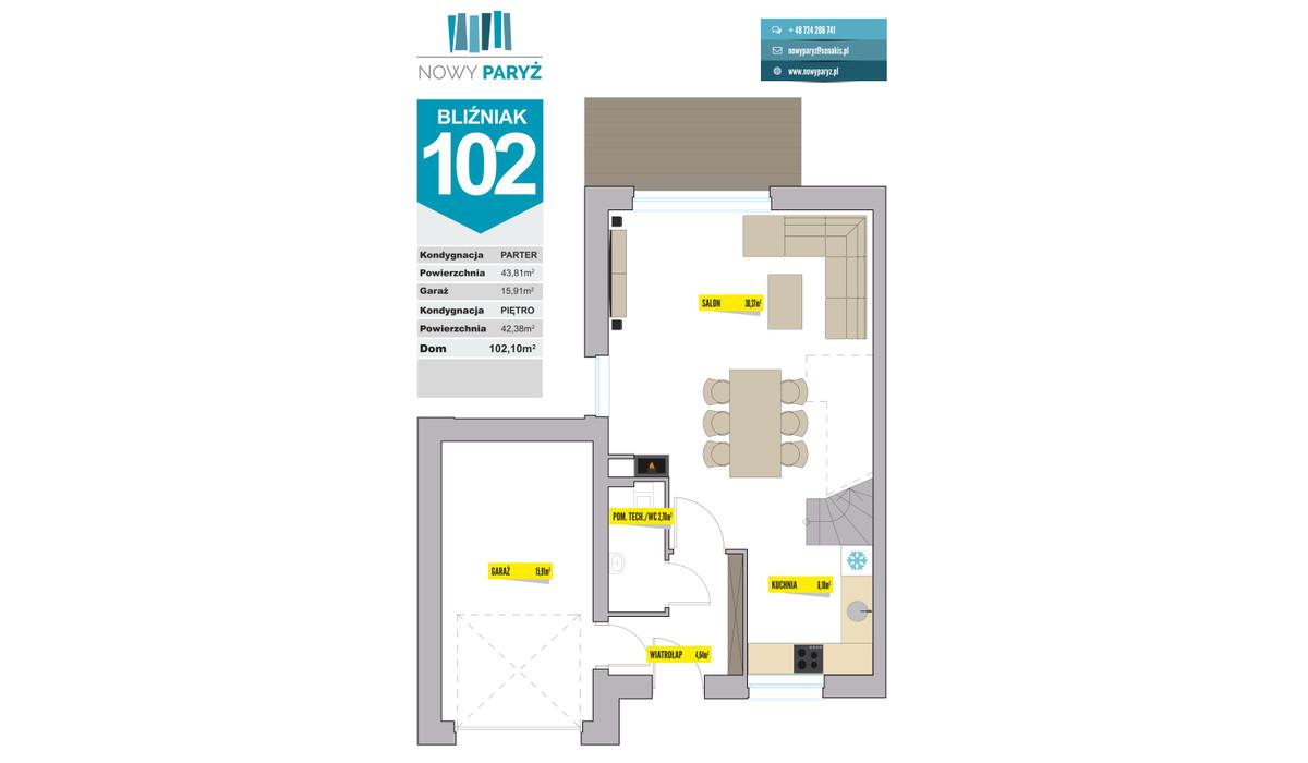 Dom w inwestycji Nowy Paryż - Ruda Śląska, Ruda Śląska, 102 m² | Morizon.pl | 2077