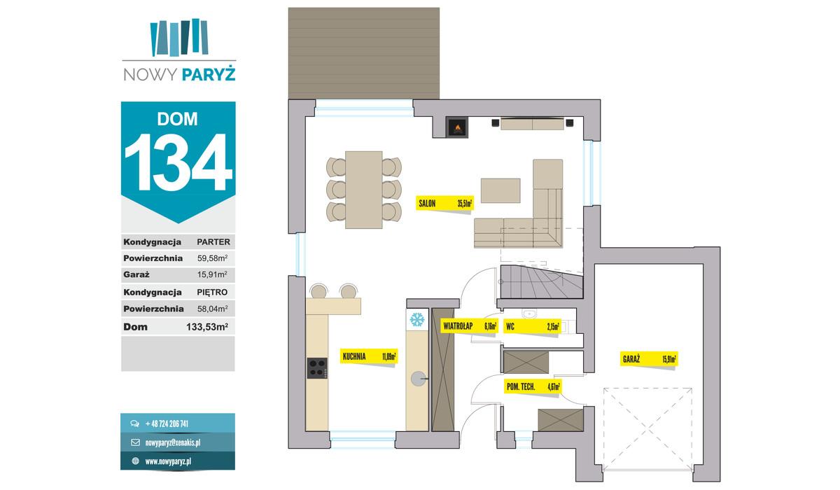 Dom w inwestycji Nowy Paryż - Ruda Śląska, Ruda Śląska, 134 m² | Morizon.pl | 2080