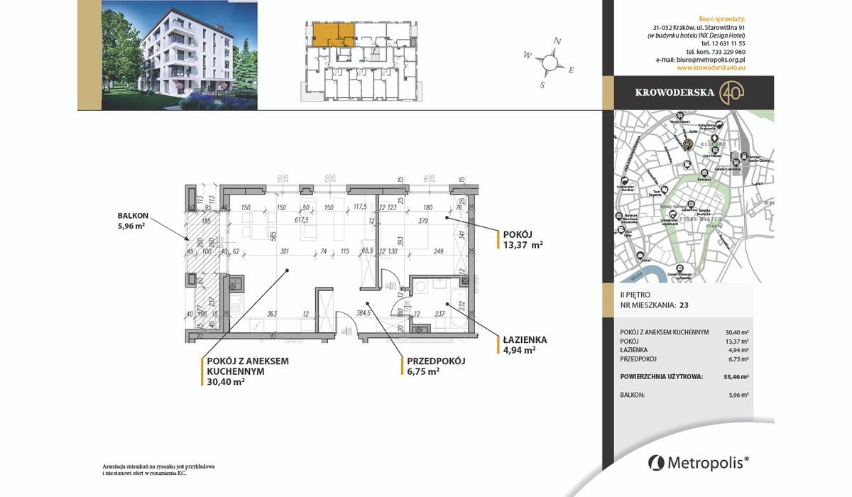 Mieszkanie w inwestycji Krowoderska40, Kraków, 59 m² | Morizon.pl | 7107
