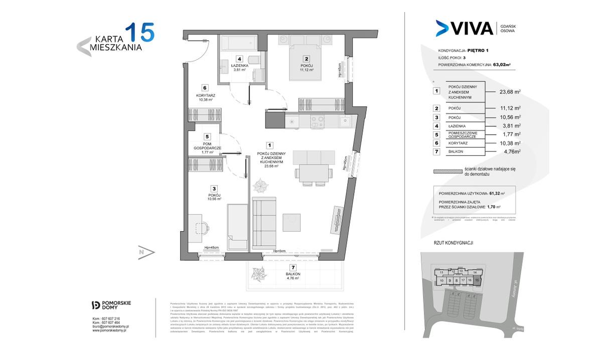 Mieszkanie w inwestycji VIVA, Gdańsk, 63 m² | Morizon.pl | 6877